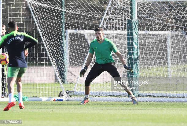 Manchester City's Aro Muric in action at Manchester City Football Academy on February 25 2019 in Manchester England