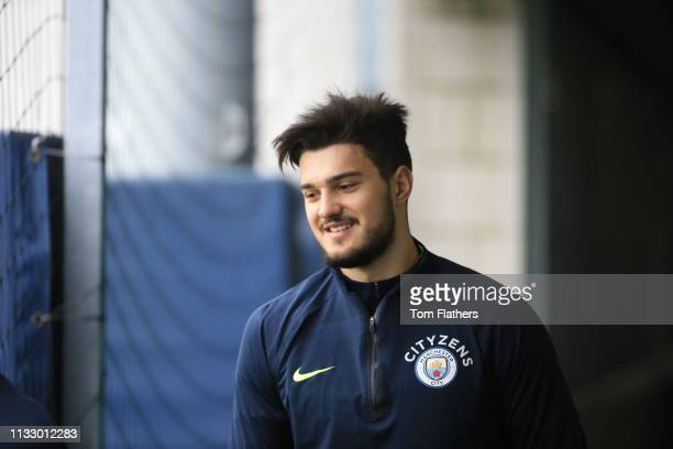 Manchester City's Aro Muric in action during training at Manchester City Football Academy on March 01 2019 in Manchester England