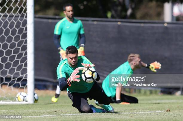 Manchester City's Aro Muric makes a save during training at University of Illinois on July 18 2018 in Chicago Illinois