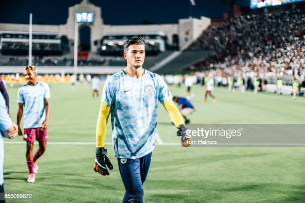 Manchester City's Aro Muric prior to the match at the Los Angeles Memorial Coliseum on July 26 2017 in Los Angeles California