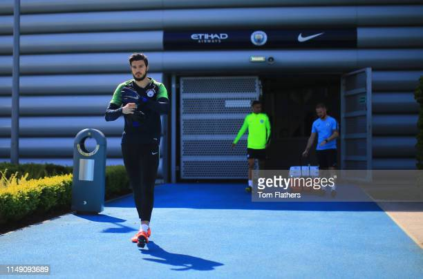 Manchester City's Aro Muric walks out to training during training at Manchester City Football Academy on May 14 2019 in Manchester England