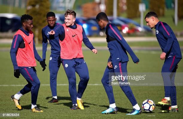 Manchester City's Ash Kigbu Tom DeleBashiru Luke Bolton Javairo Dilrosun Joel Latibeaudiere during training at Manchester City Football Academy on...