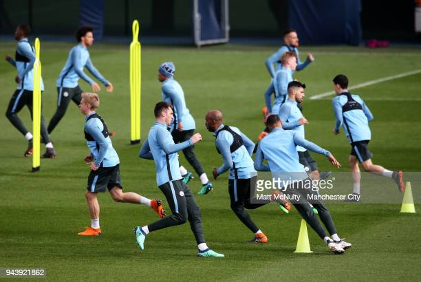 Manchester City's Aymeric Laporte and teammates during training at Manchester City Football Academy on April 9 2018 in Manchester England