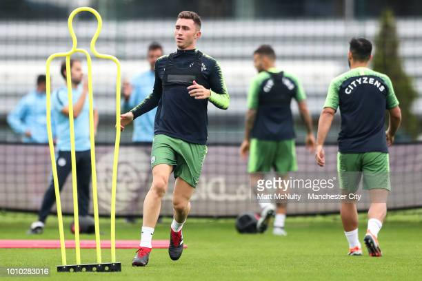 Manchester City's Aymeric Laporte during training at Manchester City Football Academy on August 3 2018 in Manchester England