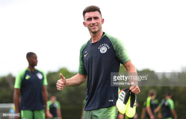 Manchester City's Aymeric Laporte during training at Manchester City Football Academy on July 6 2018 in Manchester England
