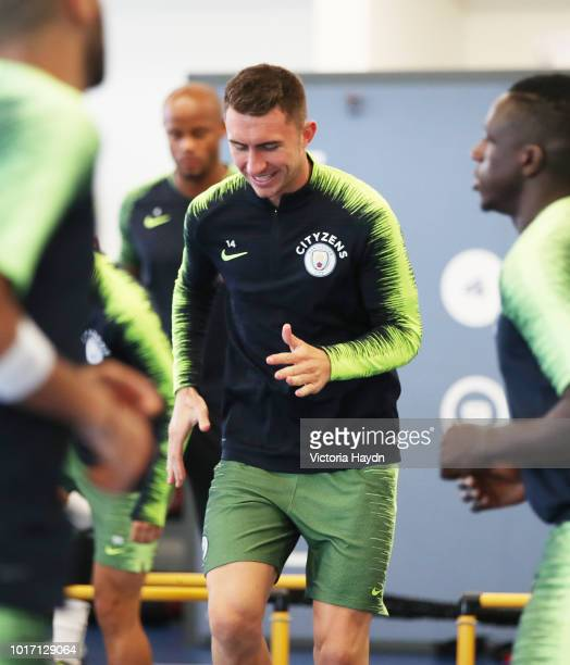 Manchester City's Aymeric Laporte during training in the gym at Manchester City Football Academy on August 15 2018 in Manchester England