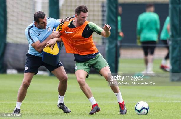 Manchester City's Aymeric Laporte fights for the ball during training at Manchester City Football Academy on August 8 2018 in Manchester England