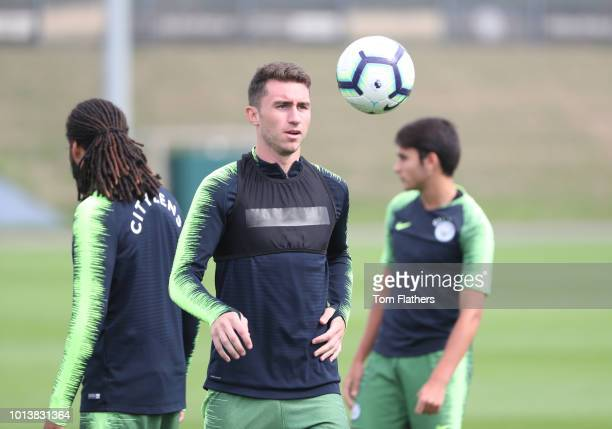 Manchester City's Aymeric Laporte in action during training at Manchester City Football Academy on August 9 2018 in Manchester England