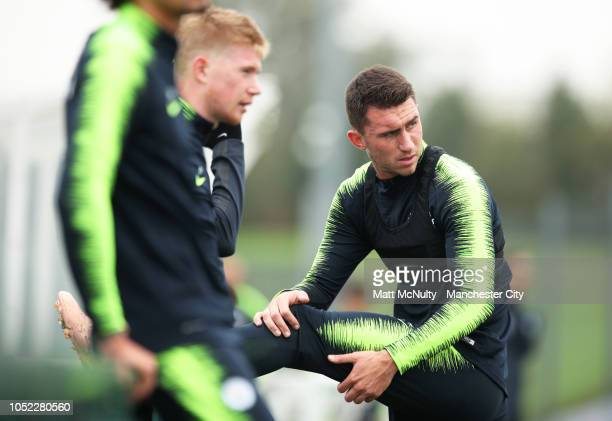 Manchester City's Aymeric Laporte looks on during the training session at Manchester City Football Academy on October 16 2018 in Manchester England