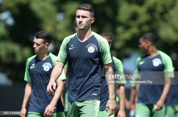 Manchester City's Aymeric Laporte reacts during training at University of Illinois on July 18 2018 in Chicago Illinois