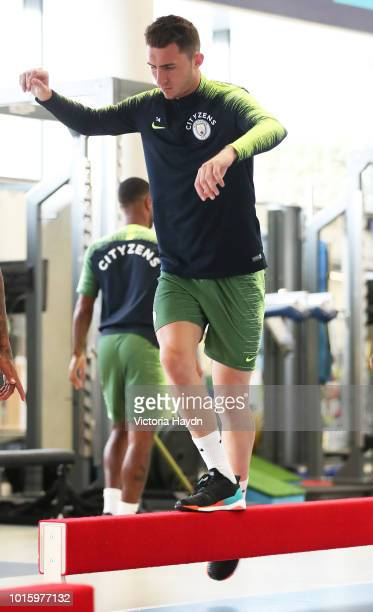 Manchester City's Aymeric Laporte train in the gym at Manchester City Football Academy on August 10 2018 in Manchester England