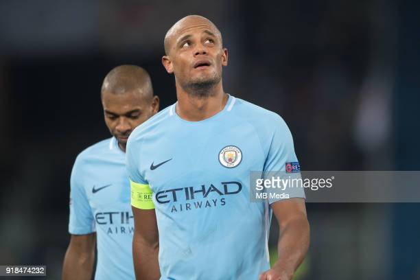 Manchester City's Belgian defender Vincent Kompany during the UEFA Champions League round of 16 first leg football match between Basel and Manchester...
