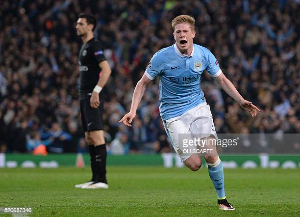 Manchester City's Belgian midfielder Kevin De Bruyne celebrates after scoring during the UEFA Champions league quarterfinal second leg football match...