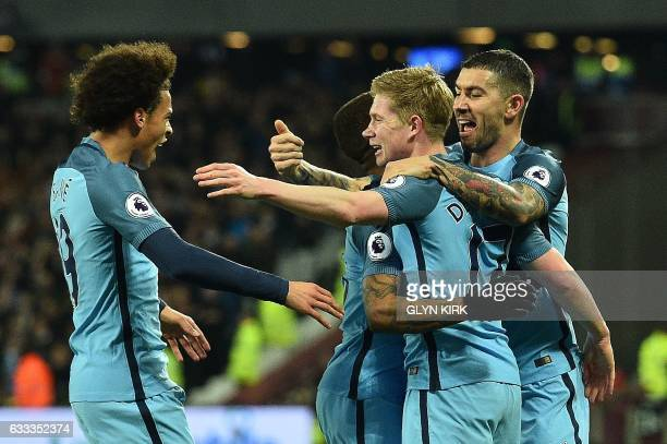 Manchester City's Belgian midfielder Kevin De Bruyne celebrates scoring his team's first goal during the English Premier League football match...