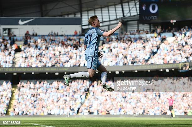 Manchester City's Belgian midfielder Kevin De Bruyne celebrates scoring the opening goal during the English Premier League football match between...