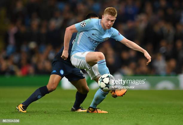 Manchester City's Belgian midfielder Kevin De Bruyne controls the ball during the UEFA Champions League Group F football match between Manchester...