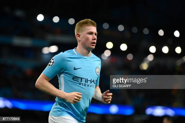Manchester City's Belgian midfielder Kevin De Bruyne plays during the UEFA Champions League Group F football match between Manchester City and...