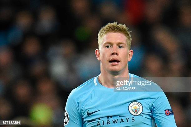 Manchester City's Belgian midfielder Kevin De Bruyne reacts during the UEFA Champions League Group F football match between Manchester City and...