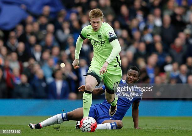 Manchester City's Belgian midfielder Kevin De Bruyne vies with Chelsea's Nigerian midfielder John Obi Mikel during the English Premier League...