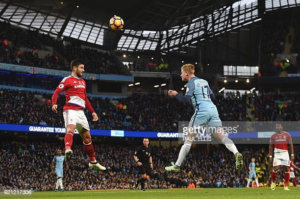 TOPSHOT Manchester City's Belgian midfielder Kevin De Bruyne vies with Middlesbrough's Spanish defender Antonio Barragan during the English Premier...