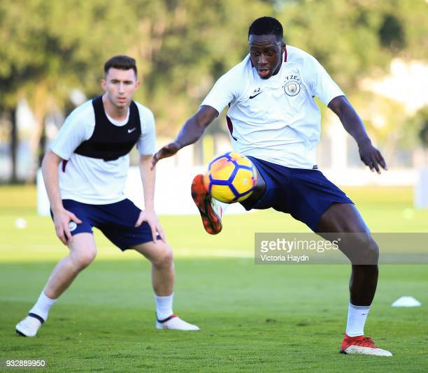 Manchester City's Benjamin Mendy and Aymeric Laporte during the training session on March 16 2018 in Abu Dhabi United Arab Emirates