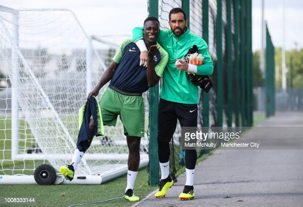 Manchester City's Benjamin Mendy and Claudio Bravo during training at Manchester City Football Academy on July 31 2018 in Manchester England