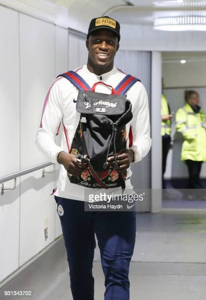 Manchester City's Benjamin Mendy boards the flight at Manchester Airport on March 13 2018 in Manchester England