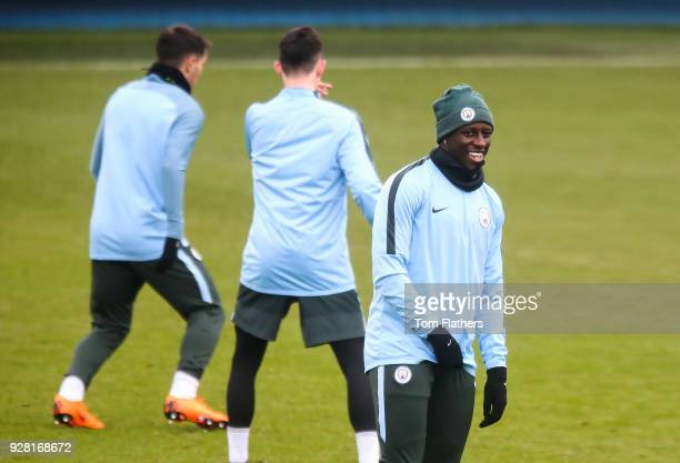 Manchester City's Benjamin Mendy during the open training session at Manchester City Football Academy on March 6 2018 in Manchester England