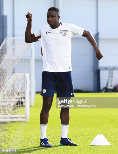 Manchester City's Benjamin Mendy during the training session at Manchester City Football Academy on April 18 2018 in Manchester England