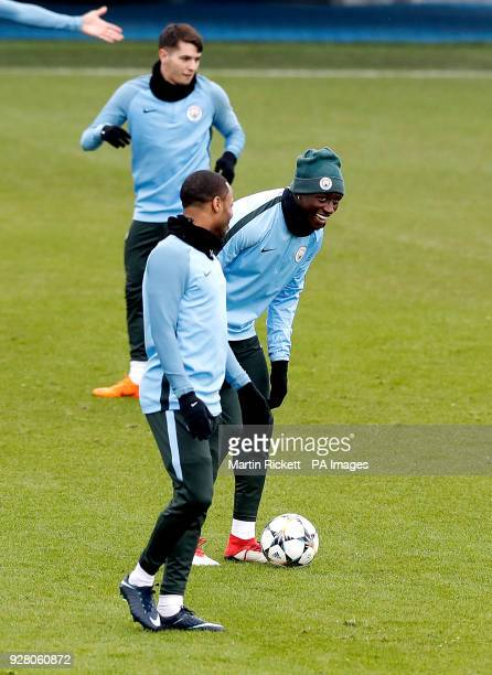 Manchester City's Benjamin Mendy during the training session at the CFA Manchester