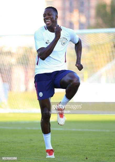 Manchester City's Benjamin Mendy during the training session on March 16 2018 in Abu Dhabi United Arab Emirates