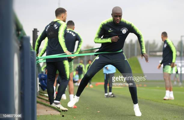Manchester City's Benjamin Mendy during training at Manchester City Football Academy on October 5 2018 in Manchester England