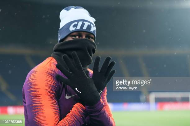 Manchester City's Benjamin Mendy in action during a training session ahead of their UEFA Champions League match against Shakhtar Donetsk at the...