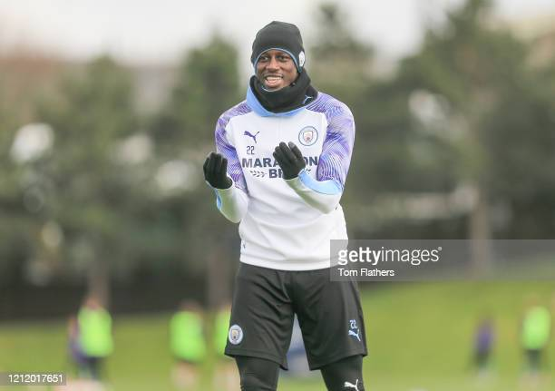 Manchester City's Benjamin Mendy in action during training at Manchester City Football Academy on March 12 2020 in Manchester England