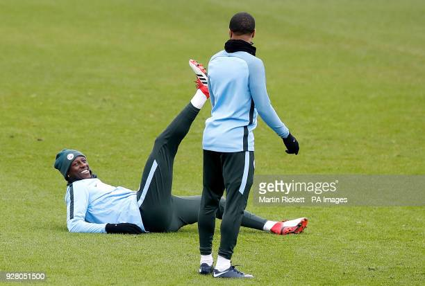 Manchester City's Benjamin Mendy lies on the pitch during the training session at the CFA Manchester