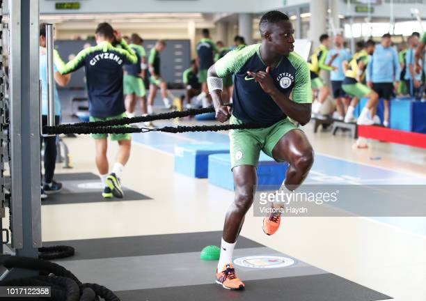 Manchester City's Benjamin Mendy reacts during training in the gym at Manchester City Football Academy on August 15 2018 in Manchester England
