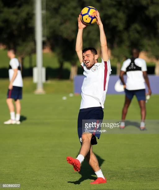 Manchester City's Bernardo Silva during the training session on March 16 2018 in Abu Dhabi United Arab Emirates