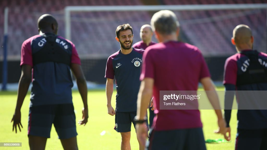 Manchester City's Bernardo Silva during training at Stadio San Paolo on November 2, 2017 in Naples, Italy.