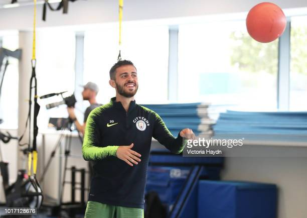 Manchester City's Bernardo Silva during training in the gym at Manchester City Football Academy on August 15 2018 in Manchester England