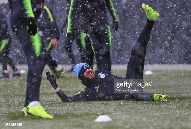 Manchester City's Bernardo Silva in action during training at Manchester City Football Academy on January 22 2019 in Manchester England