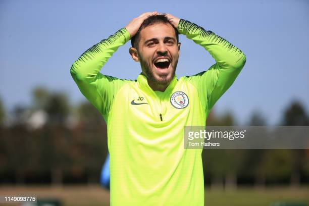 Manchester City's Bernardo Silva in action during training at Manchester City Football Academy on May 14 2019 in Manchester England