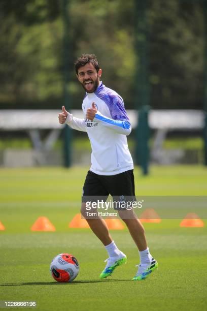 Manchester City's Bernardo Silva in action during training at Manchester City Football Academy on May 23, 2020 in Manchester, England.