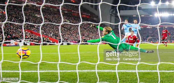 Manchester City's Bernardo Silva scores his side's second goal during the Premier League match between Liverpool and Manchester City at Anfield on...