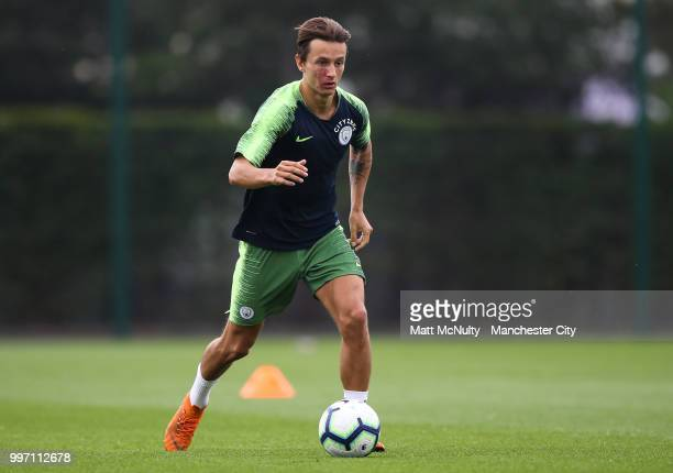 Manchester City's Bersant Celina during training at Manchester City Football Academy on July 12 2018 in Manchester England