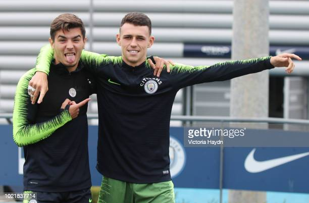 Manchester City's Brahim Diaz and Phil Foden during training at Manchester City Football Academy on August 23 2018 in Manchester England