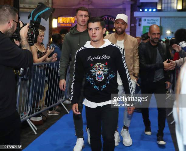 Manchester City's Brahim Diaz arrives at The Printworks on August 15 2018 in Manchester England