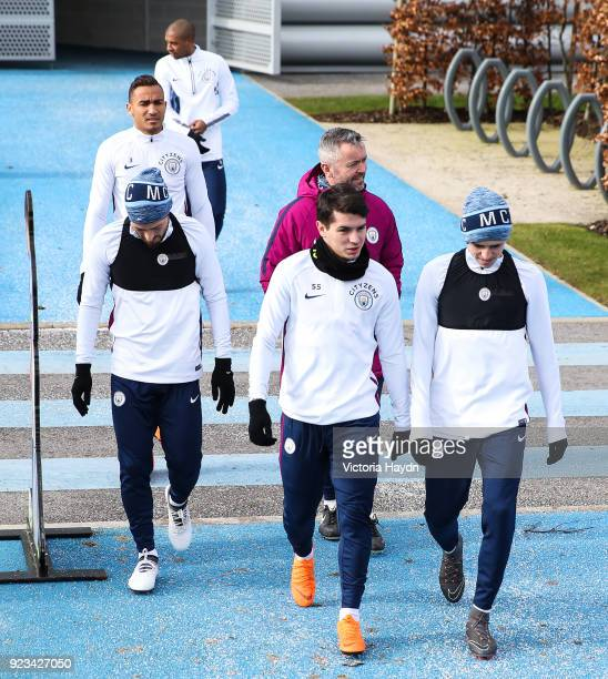 Manchester City's Brahim Diaz David Silva and Phil Foden during the training session at Manchester City Football Academy on February 23 2018 in...