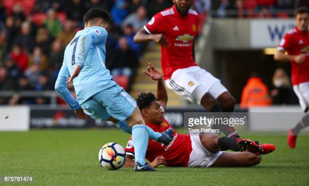 Manchester City's Brahim Diaz in action during the Premier League 2 match between Manchester United v Manchester City at Leigh Sports Village on...