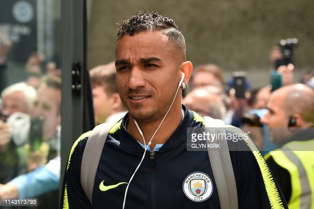 Manchester City's Brazilian defender Danilo arrives for the English Premier League football match between Brighton and Hove Albion and Manchester...