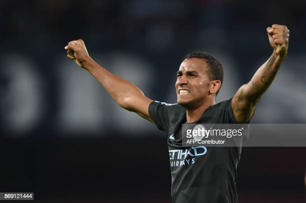 Manchester City's Brazilian defender Danilo celebrates at the end of the UEFA Champions League football match Napoli vs Manchester City on November 1...